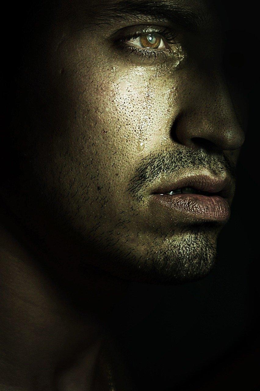 man with tears